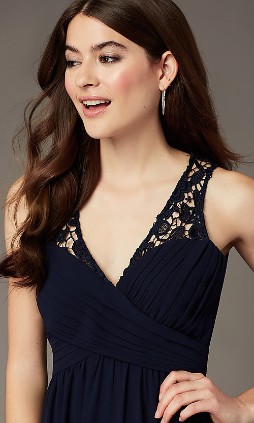 Image of navy long lace-back v-neck prom dress by Simply. Style: MT-SD-9825-1 Detail Image 1
