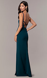 Image of empire-waist long square-neck teal blue prom dress. Style: MT-9697 Front Image