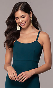 Image of empire-waist long square-neck teal blue prom dress. Style: MT-9697 Detail Image 1
