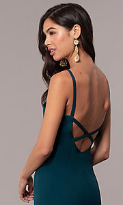 Image of empire-waist long square-neck teal blue prom dress. Style: MT-9697 Detail Image 2