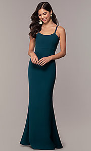 Image of empire-waist long square-neck teal blue prom dress. Style: MT-9697 Detail Image 3