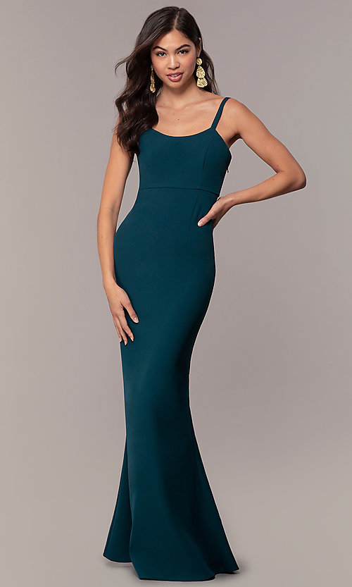 Image of empire-waist long square-neck teal blue prom dress. Style: MT-9697 Back Image