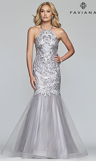 Long Silver Sequined Mermaid Designer Prom Dress
