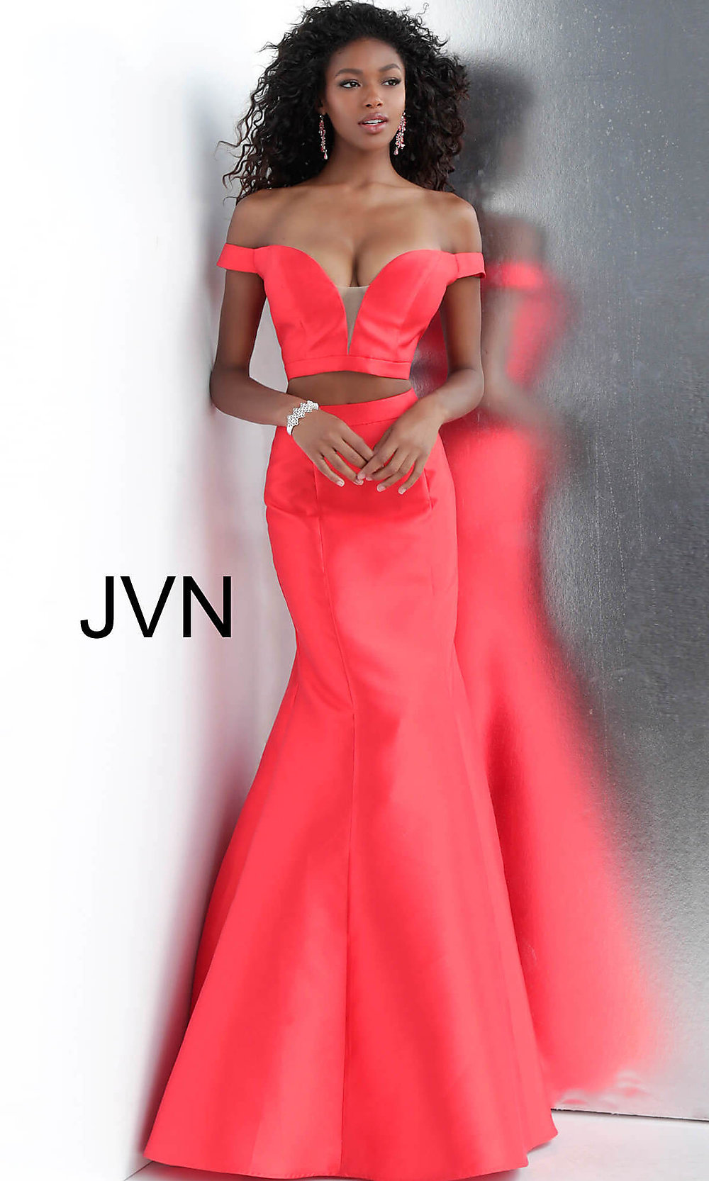 Off-the-Shoulder Two-Piece Designer Prom Dress