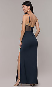 Image of high-neck embroidered-mesh-bodice long prom dress. Style: SOI-M18282 Back Image
