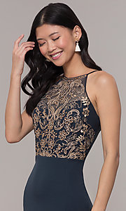 Image of high-neck embroidered-mesh-bodice long prom dress. Style: SOI-M18282 Detail Image 1