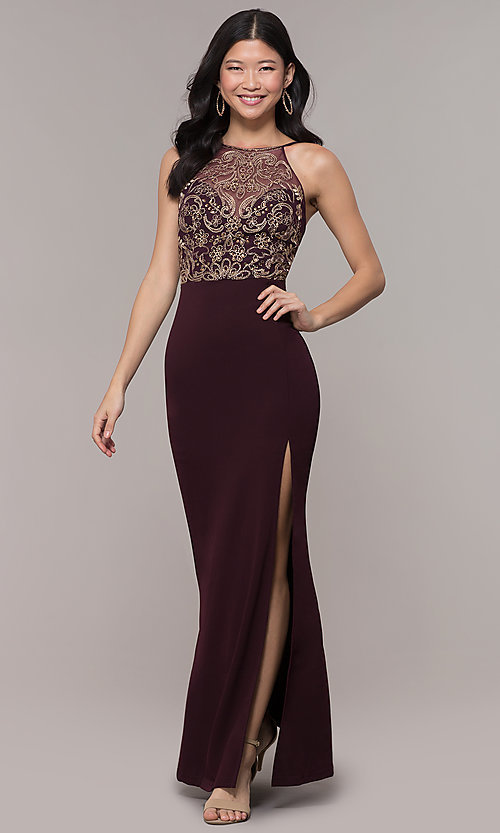 Image of high-neck embroidered-mesh-bodice long prom dress. Style: SOI-M18282 Detail Image 4