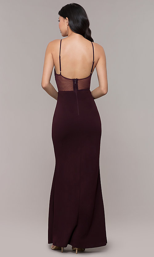 Image of high-neck embroidered-mesh-bodice long prom dress. Style: SOI-M18282 Detail Image 5