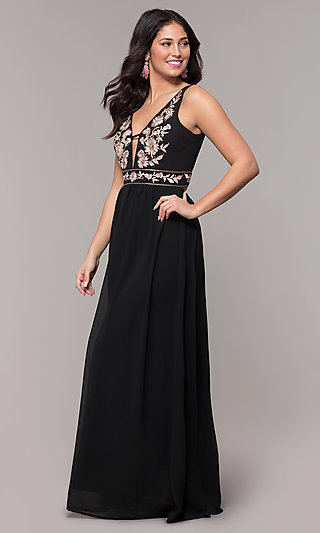 Long Chiffon Black Prom Dress with Embroidery