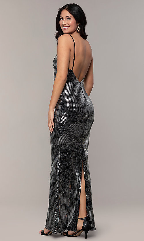ac83a6c032d78 Image of backless allover-sequin long sparkly prom dress. Style: SOI-M18342