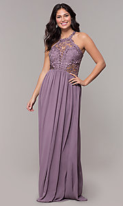 Image of lace-bodice long chiffon prom dress with back cut out. Style: SOI-M18306 Detail Image 6