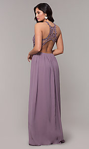 Image of lace-bodice long chiffon prom dress with back cut out. Style: SOI-M18306 Detail Image 7