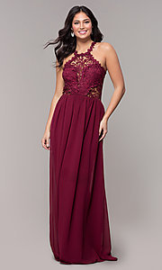 Image of lace-bodice long chiffon prom dress with back cut out. Style: SOI-M18306 Detail Image 5