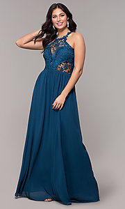 Image of lace-bodice long chiffon prom dress with back cut out. Style: SOI-M18306 Front Image