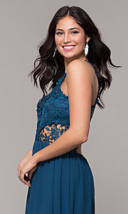 Image of lace-bodice long chiffon prom dress with back cut out. Style: SOI-M18306 Detail Image 1