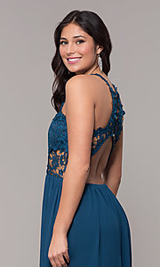 Image of lace-bodice long chiffon prom dress with back cut out. Style: SOI-M18306 Detail Image 2