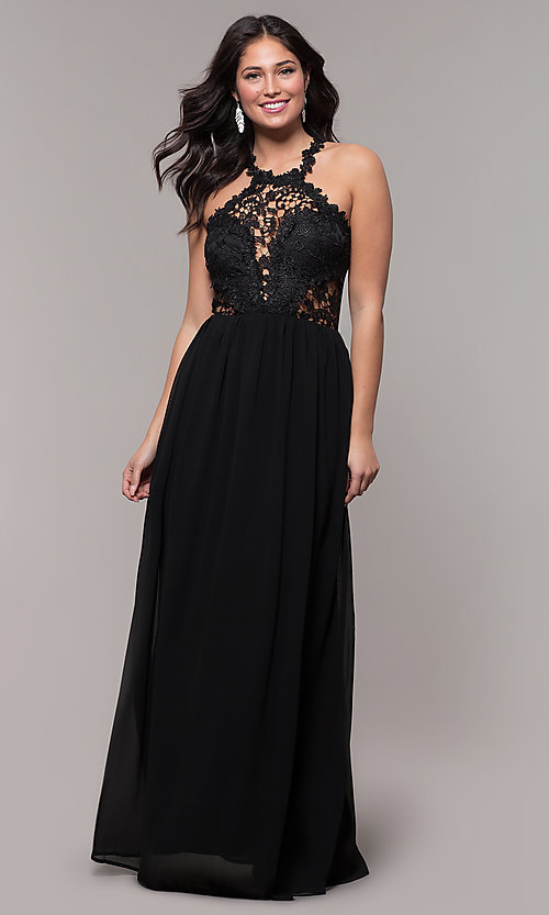 Image of lace-bodice long chiffon prom dress with back cut out. Style: SOI-M18306 Detail Image 3