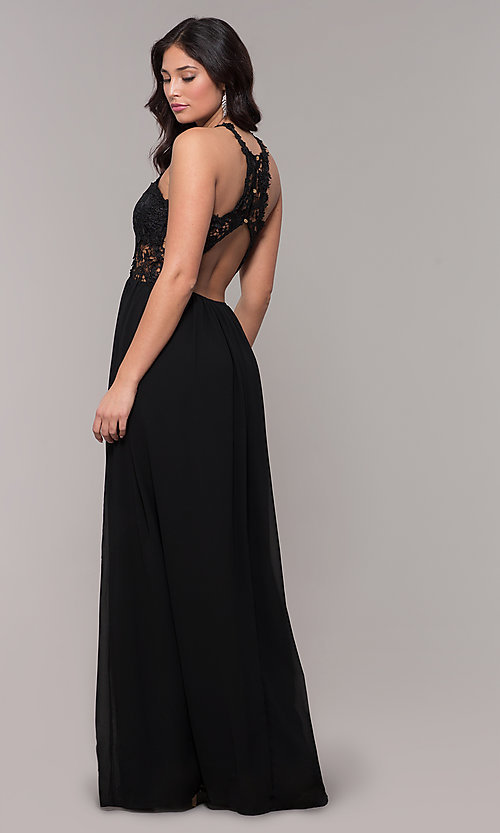 Image of lace-bodice long chiffon prom dress with back cut out. Style: SOI-M18306 Detail Image 4