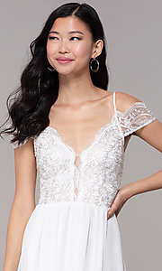 Image of long embroidered-bodice off-shoulder prom dress. Style: SOI-M18500 Detail Image 1