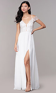 Image of long embroidered-bodice off-shoulder prom dress. Style: SOI-M18500 Detail Image 3