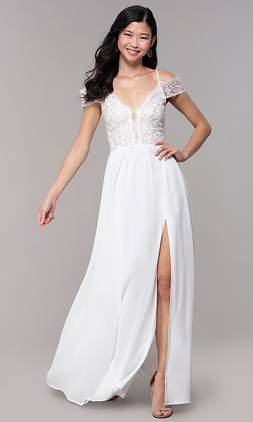 Image of long embroidered-bodice off-shoulder prom dress. Style: SOI-M18500 Front Image