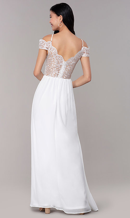 Image of long embroidered-bodice off-shoulder prom dress. Style: SOI-M18500 Back Image