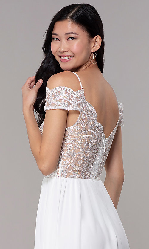 Image of long embroidered-bodice off-shoulder prom dress. Style: SOI-M18500 Detail Image 2