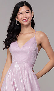 Image of long iridescent-glitter v-neck pink prom dress. Style: SOI-M18638 Detail Image 1