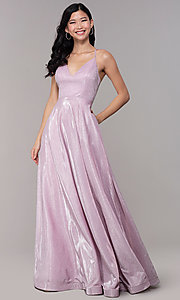 Image of long iridescent-glitter v-neck pink prom dress. Style: SOI-M18638 Detail Image 3