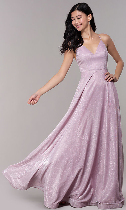 Image of long iridescent-glitter v-neck pink prom dress. Style: SOI-M18638 Front Image