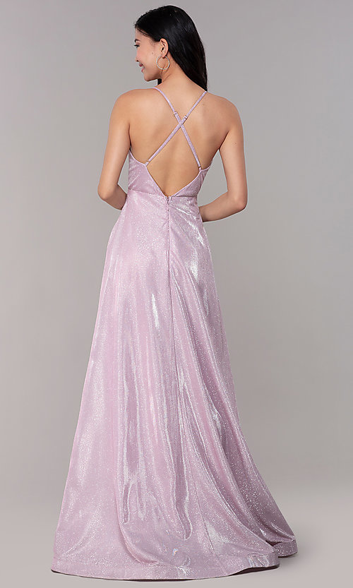 Image of long iridescent-glitter v-neck pink prom dress. Style: SOI-M18638 Back Image