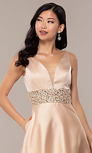 Image of bead-embellished-waist sparkly long prom dress. Style: SOI-W18524 Detail Image 1