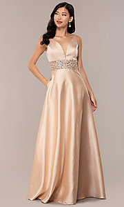 Image of bead-embellished-waist sparkly long prom dress. Style: SOI-W18524 Detail Image 3