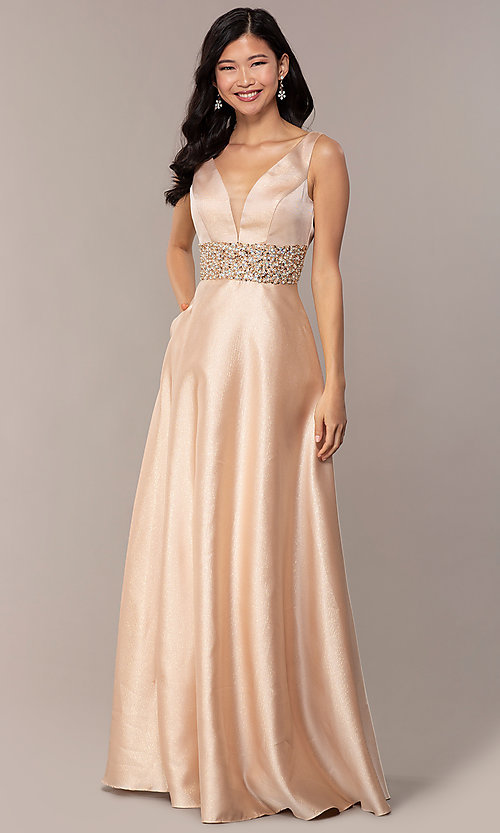 e1060954 Image of bead-embellished-waist sparkly long prom dress. Style: SOI-