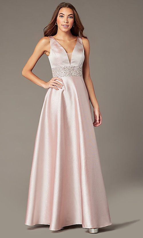Image of bead-embellished-waist sparkly long prom dress. Style: SOI-W18524 Front Image