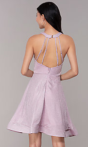 Image of short iridescent-glitter homecoming party dress. Style: SOI-S18686 Back Image