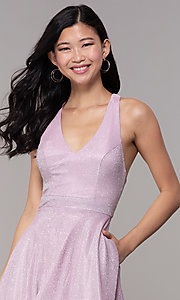 Image of short iridescent-glitter homecoming party dress. Style: SOI-S18686 Detail Image 1