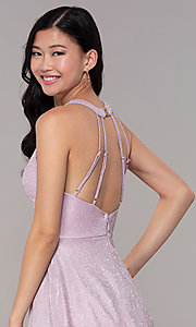 Image of short iridescent-glitter homecoming party dress. Style: SOI-S18686 Detail Image 2