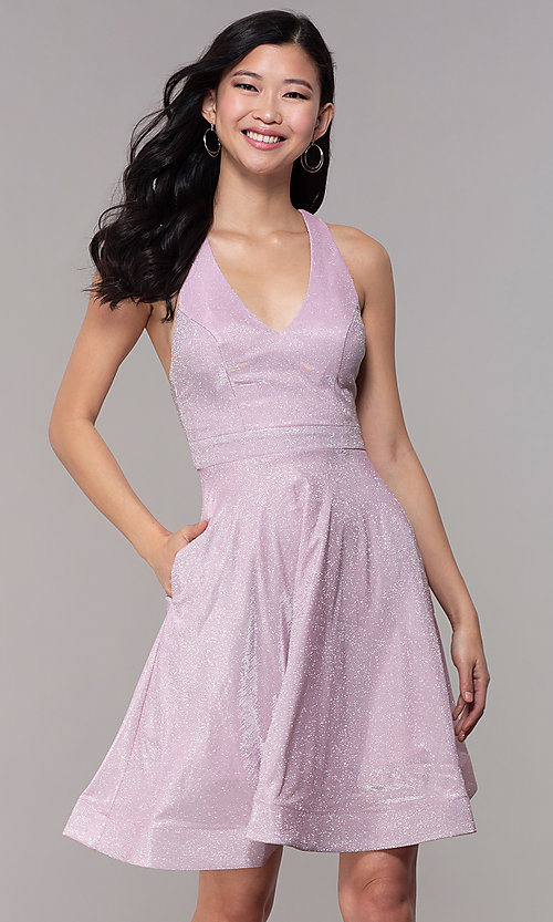 Image of short iridescent-glitter homecoming party dress. Style: SOI-S18686 Front Image