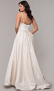 Image of long metallic formal prom dress with pockets. Style: PO-8358 Detail Image 4
