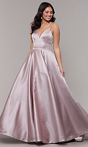 Image of long metallic formal prom dress with pockets. Style: PO-8358 Front Image