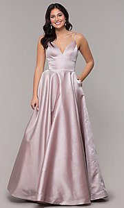 Image of long metallic formal prom dress with pockets. Style: PO-8358 Detail Image 3