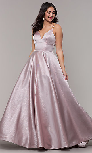Long V-Neck Prom Dress with Pockets
