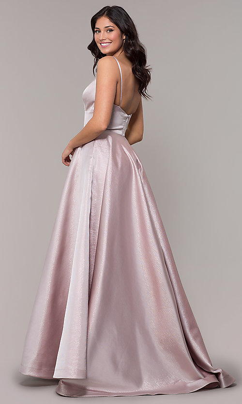 Image of long metallic formal prom dress with pockets. Style: PO-8358 Back Image