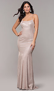 Image of long open-back iridescent-knit prom dress. Style: PO-8478 Detail Image 4