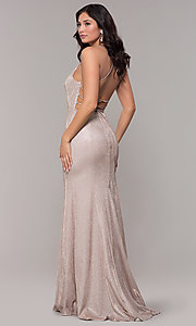 Image of long open-back iridescent-knit prom dress. Style: PO-8478 Detail Image 5