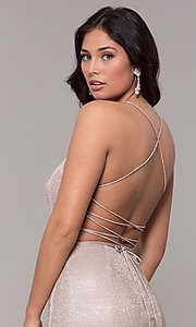 Image of long open-back iridescent-knit prom dress. Style: PO-8478 Detail Image 7