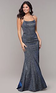 Image of long open-back iridescent-knit prom dress. Style: PO-8478 Back Image