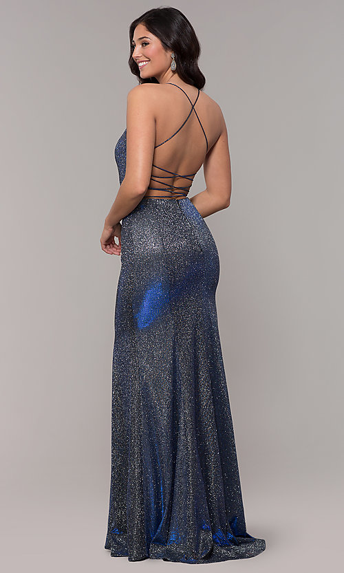 Image of long open-back iridescent-knit prom dress. Style: PO-8478 Front Image