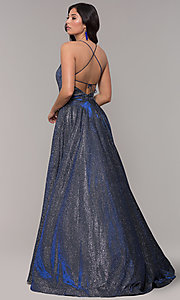 Image of long iridescent jersey square-neck prom dress. Style: PO-8472 Back Image